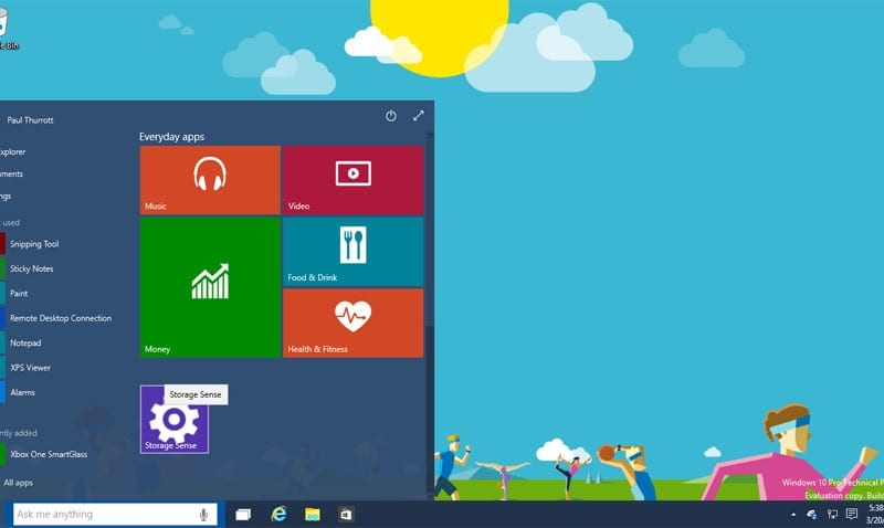 Windows 10 technical preview 2 build 10041 screenshot gallery storage sense settings pinned to the start experience ccuart Gallery