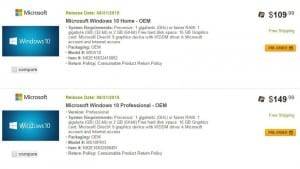 NewEgg May Have Revealed the Pricing for Windows 10 Home and Pro