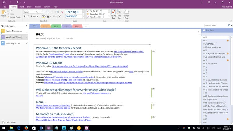 Microsoft Brings OneNote 2016 Back from the Dead - Thurrott.com