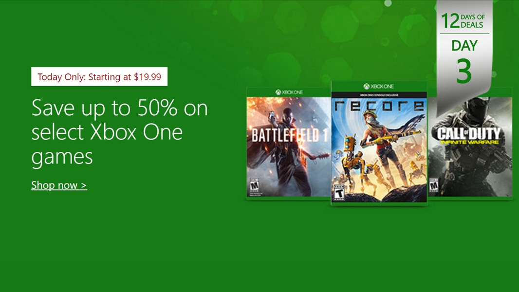 12 Days of Deals, Day 3: 50 Percent Off Xbox One Games