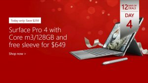 12 Days of Deals, Day 4 Surface Pro 4 for $649