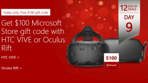12 Days of Deals, Day 9: Buy Oculus Rift or HTC Vive, Get $100 Gift Code