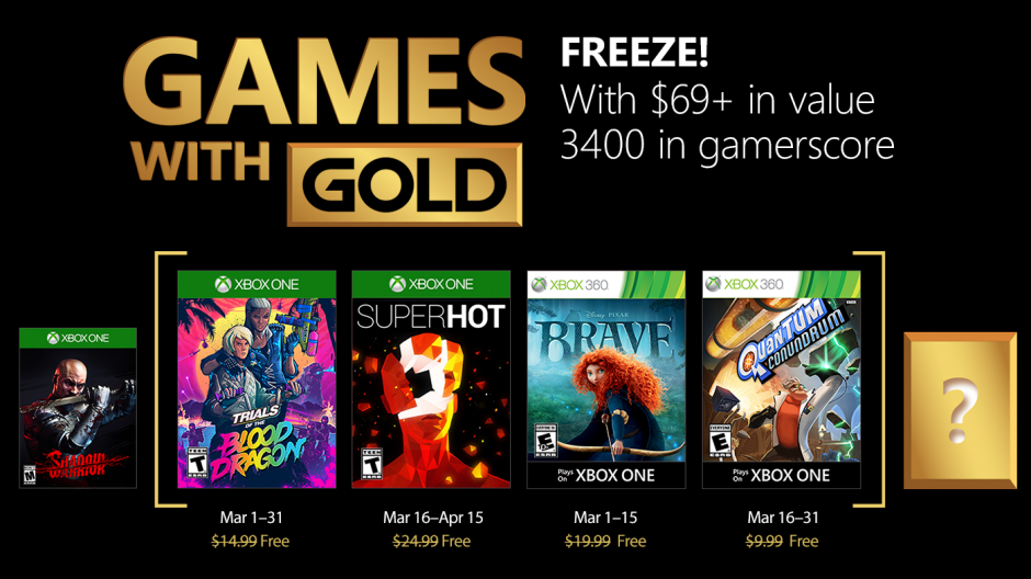 Games With Gold For March Goes Live A Day Early Thurrottcom
