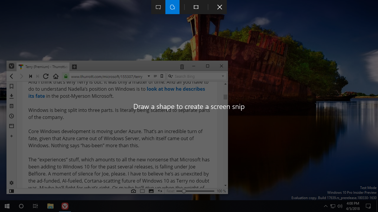 Screen Clips Coming To Windows 10 Thurrott Com
