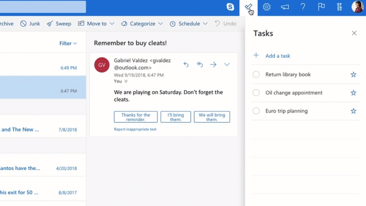 microsoft outlook update 2018
