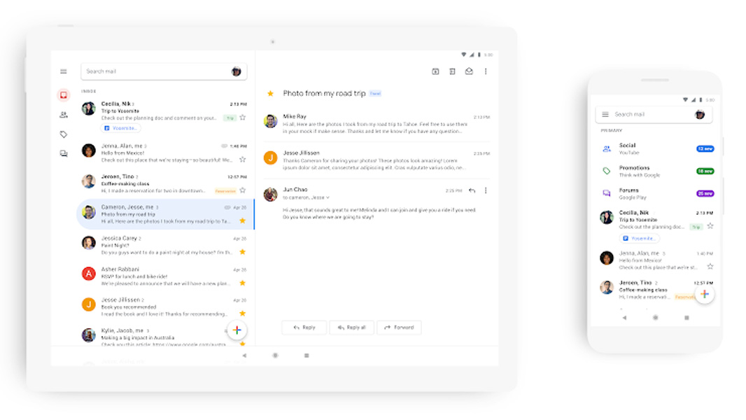 Google unveils new Gmail app interface to match desktop redesign