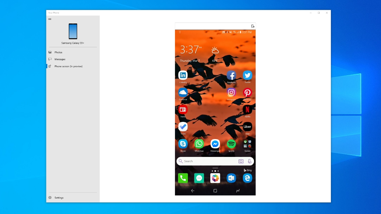 Window 10 Now Lets You Mirror Your Android Phone's Screen