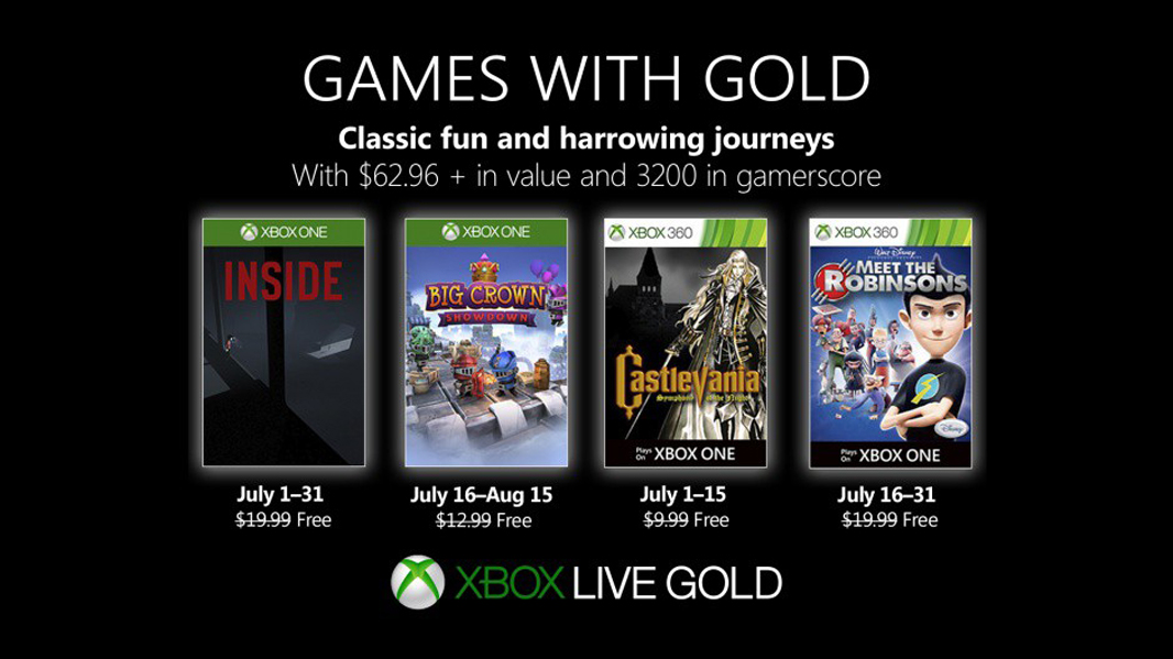 Xbox Games with Gold July: Inside, Castlevania: Symphony of the Night, more