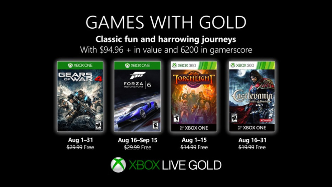 Microsoft Announces New Xbox Games With Gold For August