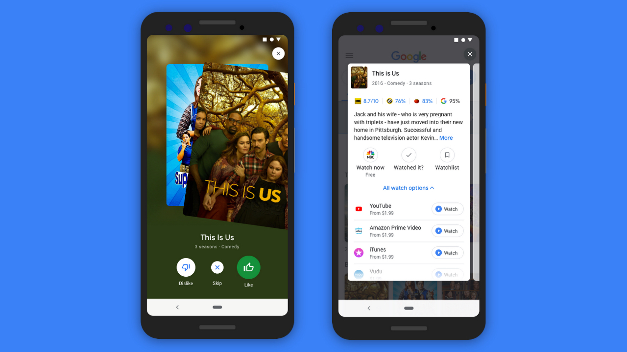Google search lets you swipe right on TV and movie recommendations