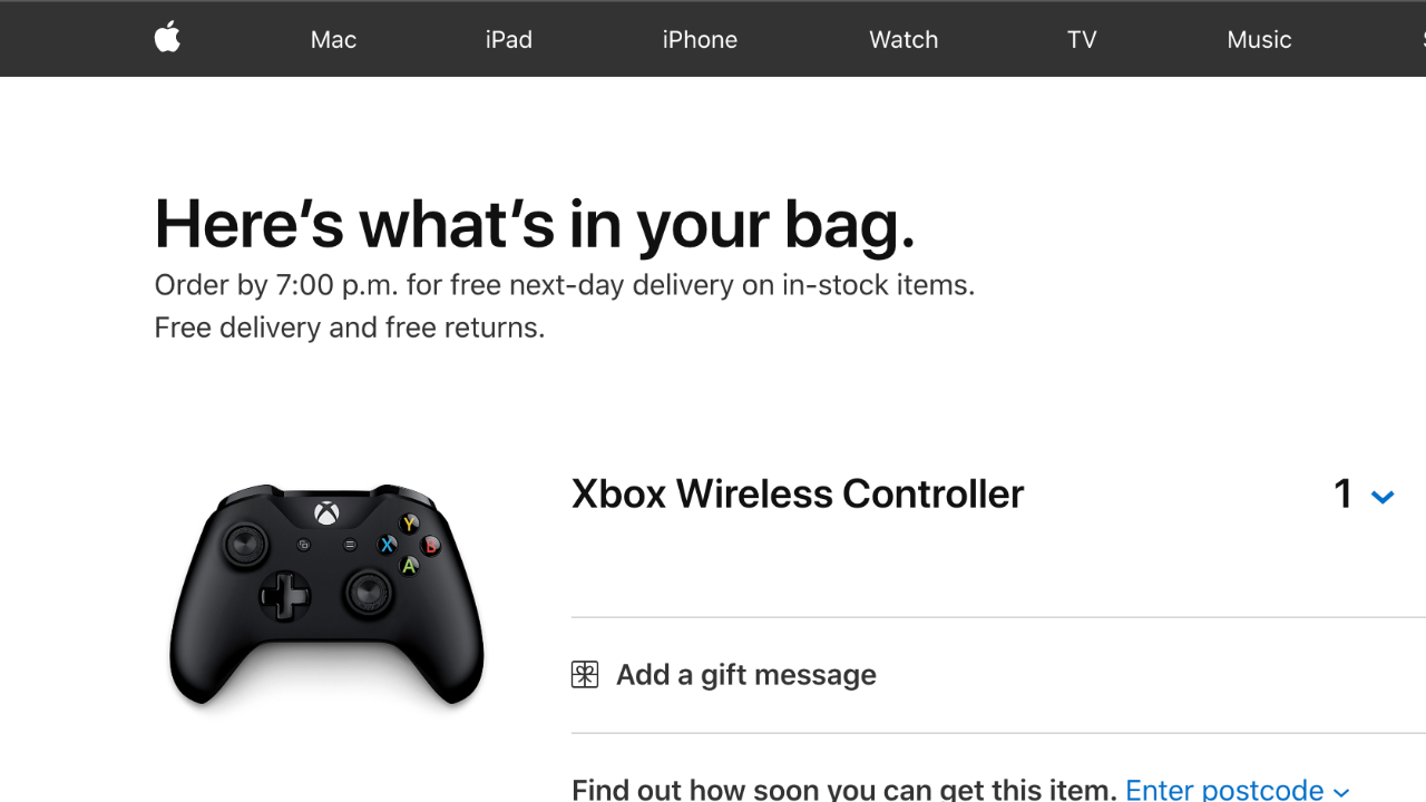 Apple Starts Selling Xbox Wireless Controller