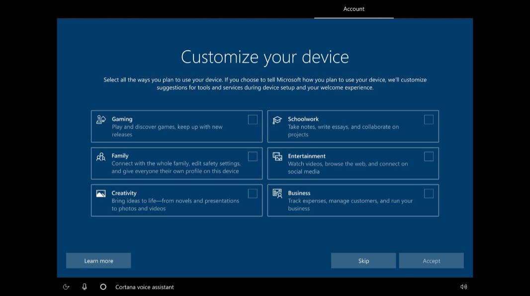 Windows 10 to get setup presets based on various device use scenarios